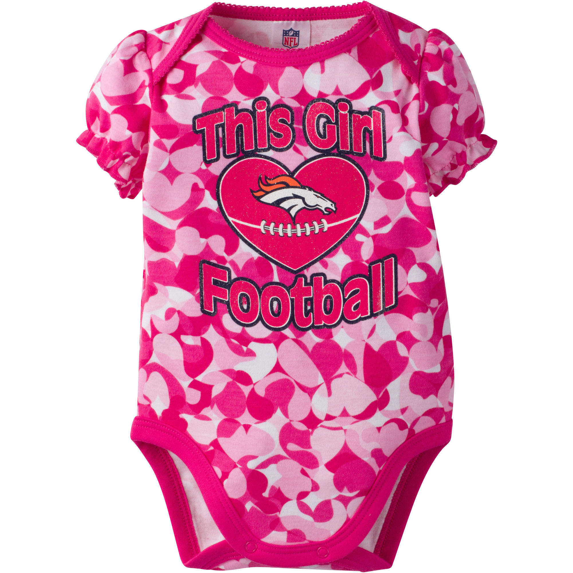 NFL Denver Broncos Baby Girls Short Sleeve Heart Camo Bodysuit