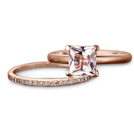Perfect 1.50 Carat solitaire princess cut Morganite and Diamond Wedding Ring Set in Rose Gold