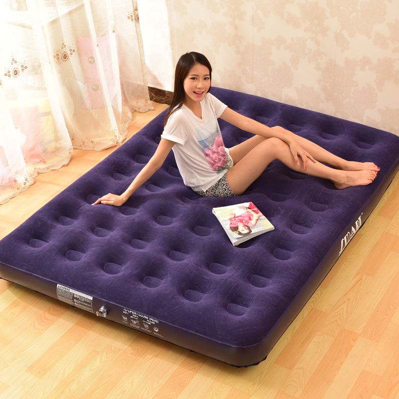 King Size Inflatable Air Bed Camping Mattress Blow Pump Up Guest Sleeping Airbed