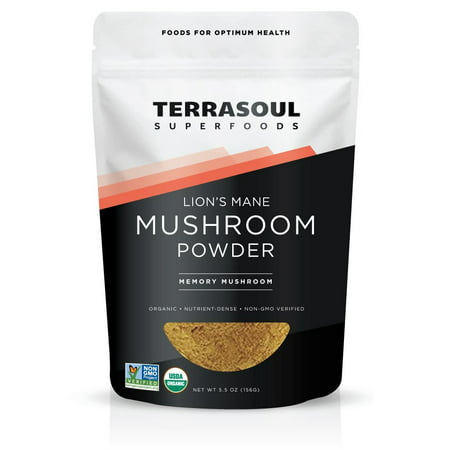 Terrasoul Superfoods Organic Lion's Mane Mushroom Powder, 5.5 - Organic Tonic Mushrooms