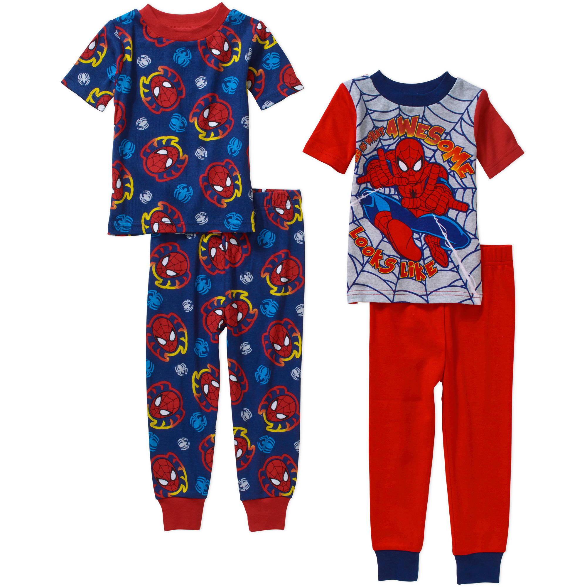Spiderman Toddler Boy Cotton Tight Fit Short Pajama Sleep Set, 4-Pieces