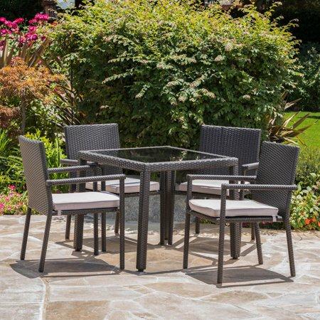 San Pico Square Wicker 5 Piece Outdoor Dining Set ()