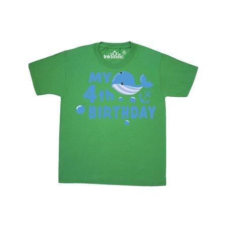 Nautical My 4th Birthday with Blue Whale Youth T-Shirt