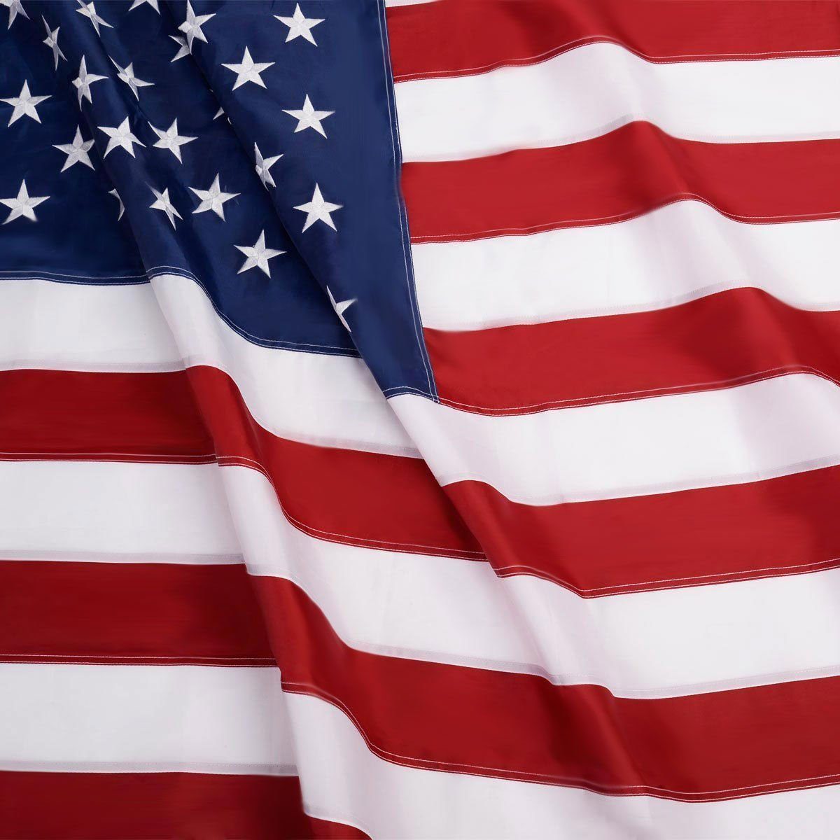 G128 American USA US Flag Nylon 5x8 Ft Embroidered Stars Sewn Stripes Brass Grommets (5X8 FT, US Flag)