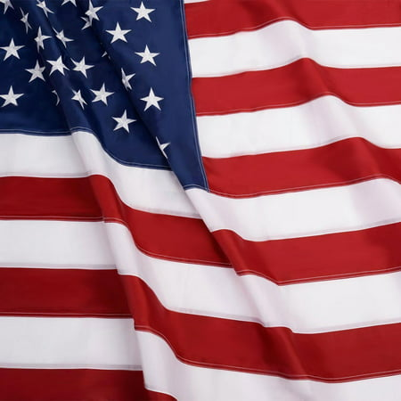 G128 – 5x8 feet American Flag | Embroidered 210D – Embroidered Stars, Sewn Stripes, Brass Grommets, Indoor/Outdoor, Vibrant Colors, Quality Polyester, US USA (Embroidered Mini Flag)