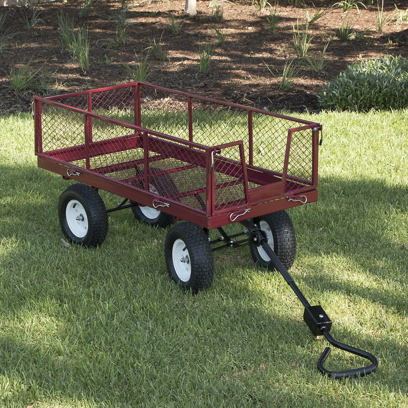 "GHP Red 53.5""Lx24.5""Wx44.25""H Heavy Duty Open-sided Deck Utility Garden Wagon Cart by"