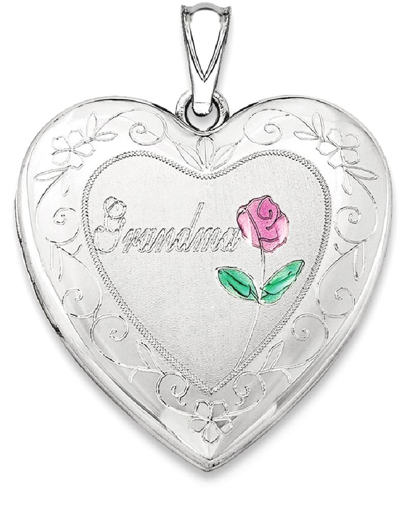 ICE CARATS ICE CARATS 925 Sterling Silver 24mm Enameled Grandma Heart Photo Pendant Charm Locket Chain Necklace That... by IceCarats Designer Jewelry Gift USA