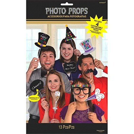 SPARKLING NEW YEAR AMSCAN PHOTO PROP KIT (14 PIECE PER PACK), MULTICOLOR, ONE SIZE](New Years Colors)