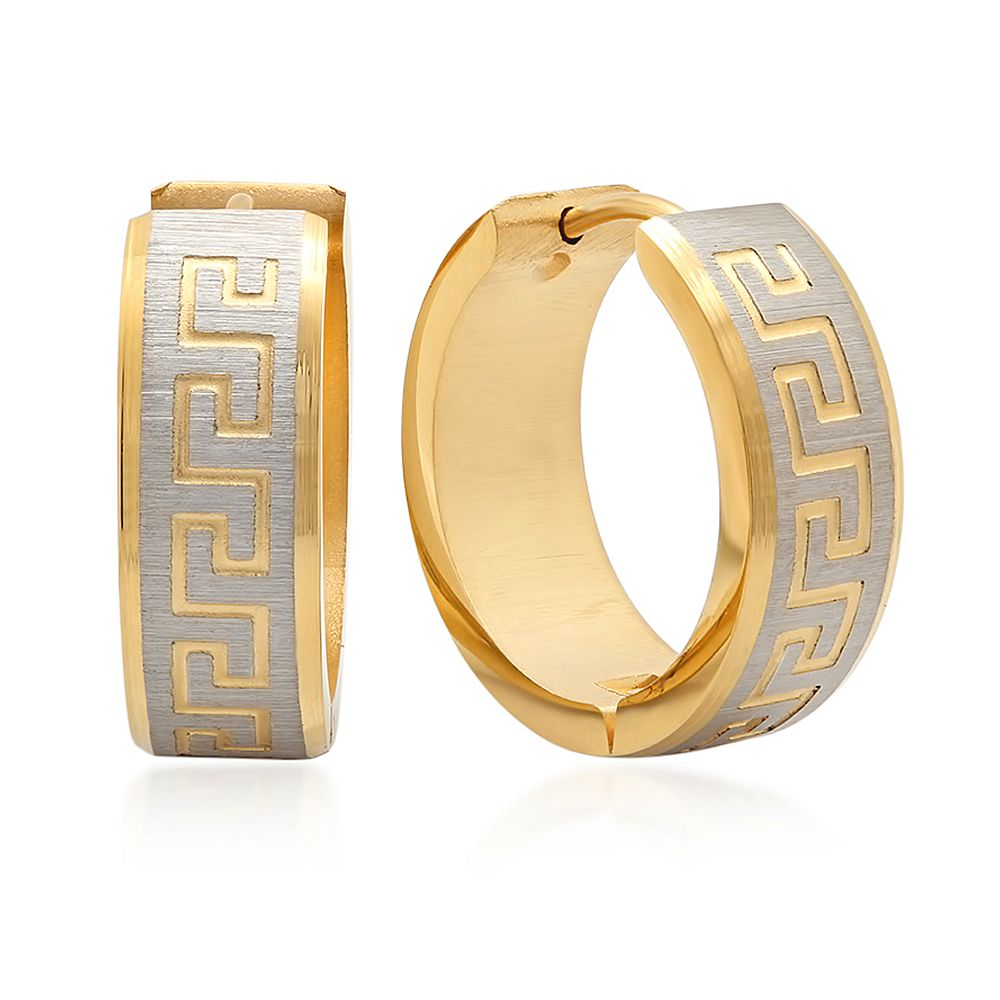 1/2 Inch Stainless Steel Yellow Gold Plated Greek Key Hoop Earrings