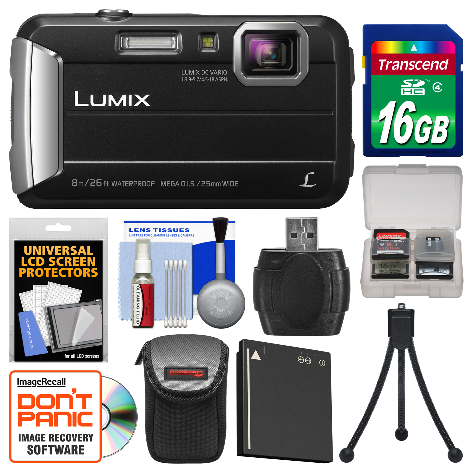 Panasonic Lumix DMC-TS30 Tough Shock & Waterproof Digital Camera (Red) with 16GB Card + Case + Battery + Flex Tripod + Kit