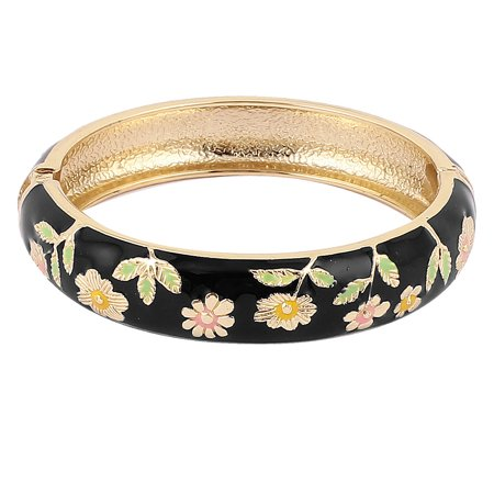 Unique Bargains Lady Spring Loaded Wide Enamel Bangle Bracelet Jewelry Party Gift