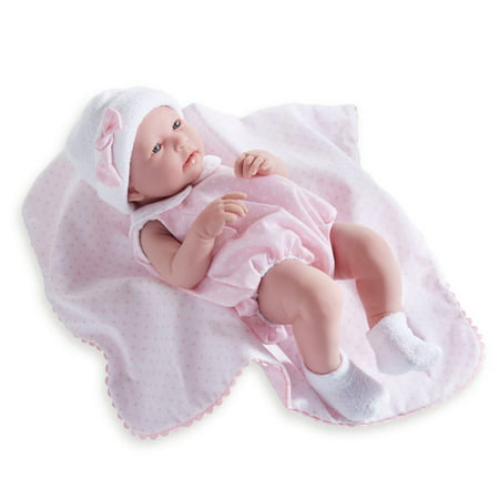 """JC Toys La Newborn 17"""" All Vinyl Realistic Anatomically Correct """"REAL GIRL"""" Baby Doll - in Pink Bubble Suit and Blanket"""
