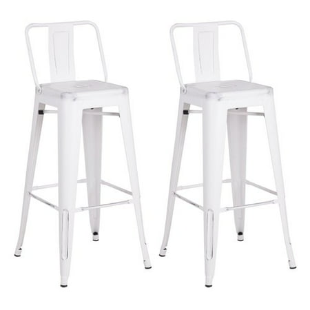 - AC Pacific Distressed Metal Barstool with Back, Black, 30 -inch, Set of 2