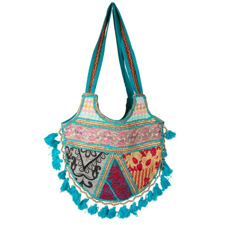Women Casual Blue Tote Tassel Pom Pom Beaded Unique Purse Shoulder Bag Hippie Boho Fashion Summer