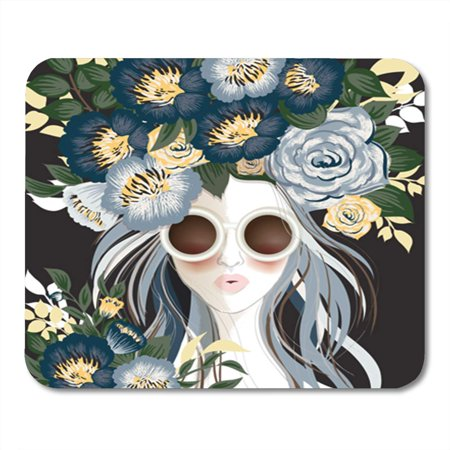 NUDECOR Yellow of Sunglasses Woman Floral Pattern on Her Hair Blue Mousepad Mouse Pad Mouse Mat 9x10 inch - image 1 of 1