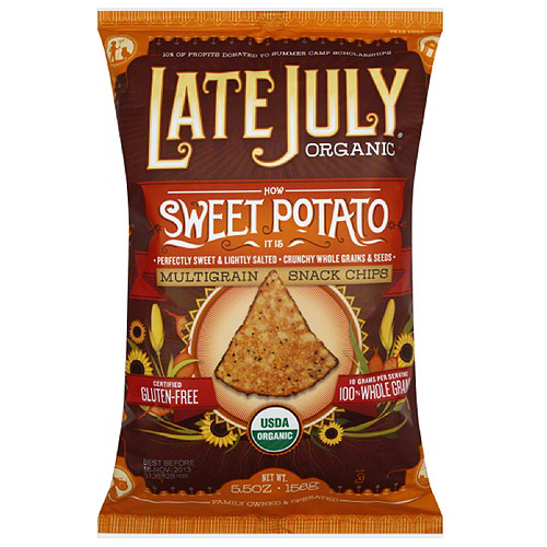 Late July Organic Sweet Potato Multigrain Snack Chips, 5.5 oz, (Pack of 12)