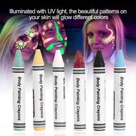 Tbest 6 Colors Neon Body Paint Crayons Pigment Children Kids Face Painting Glow Fluorescent Football,Body Paint Crayons, Kid Body Pigment (Halloween Face Painting Near Me)