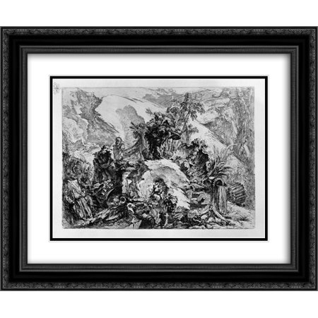 Giovanni Battista Piranesi 2x Matted 24x20 Black Ornate Framed Art Print 'Caprice decoration: a skeletal figure in the center, among the ruins, fragments of sculpture, bones and (Skull Center)
