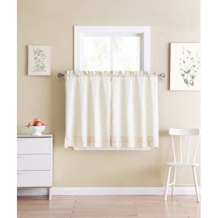 Shabby Chic Ivory 2 Piece Window Curtain Cafe Tier Set with Floral Doily Die Cut Out Design, Two Tiers 24 IN Long, 100% CottonIvory ()