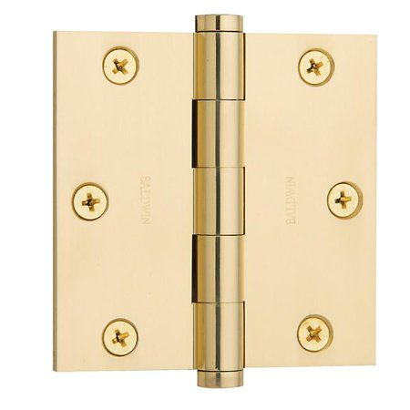 3.5' Brass Square Corner (Baldwin 1035030I 3.5 x 3.5 in. Square Corner Hinge, Polished Brass)