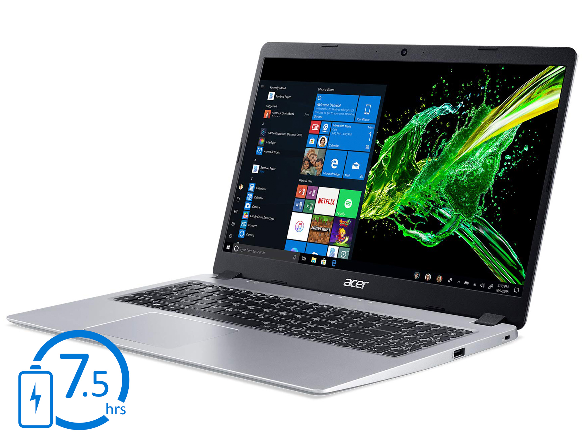 Acer Aspire 5 Slim Laptop A515-54-30BQ with Basics Wireless Computer Mouse with Nano Receiver Bundle