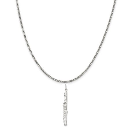 Sterling Silver Flute Charm on a Sterling Silver Curb Chain Necklace, 18