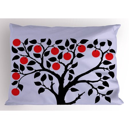 Apple Pillow Sham Black Tree with Ripe Red Nutritious Fruit Flourishing Nature Garden Forest Art, Decorative Standard Size Printed Pillowcase, 26 X 20 Inches, Lilac Black Red, by Ambesonne