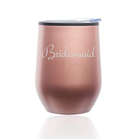 Stemless Wine Tumbler Coffee Travel Mug Glass with Lid Bridesmaid Bachelorette Wedding (Rose Gold) - Bachelorette Tumblers