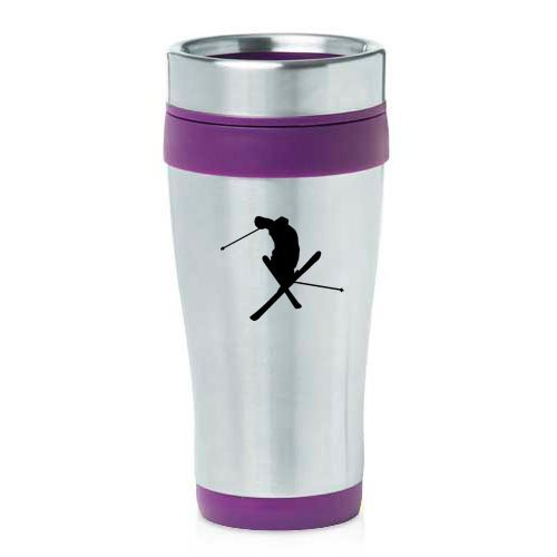16oz Insulated Stainless Steel Travel Mug Ski Skier Extreme Sports Trick (Purple ),MIP by