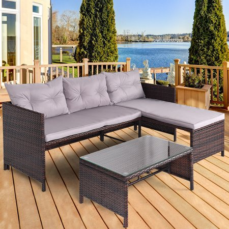 Astonishing Costway 3 Pcs Outdoor Rattan Furniture Sofa Set Lounge Chaise Cushioned Patio Garden New Unemploymentrelief Wooden Chair Designs For Living Room Unemploymentrelieforg