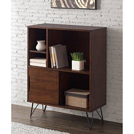 Hand Painted Console Cabinet (ModHaus Living Mid Century Modern Wooden Bookshelf Media Console Cabinet with Hairpin Legs - Includes Pen )