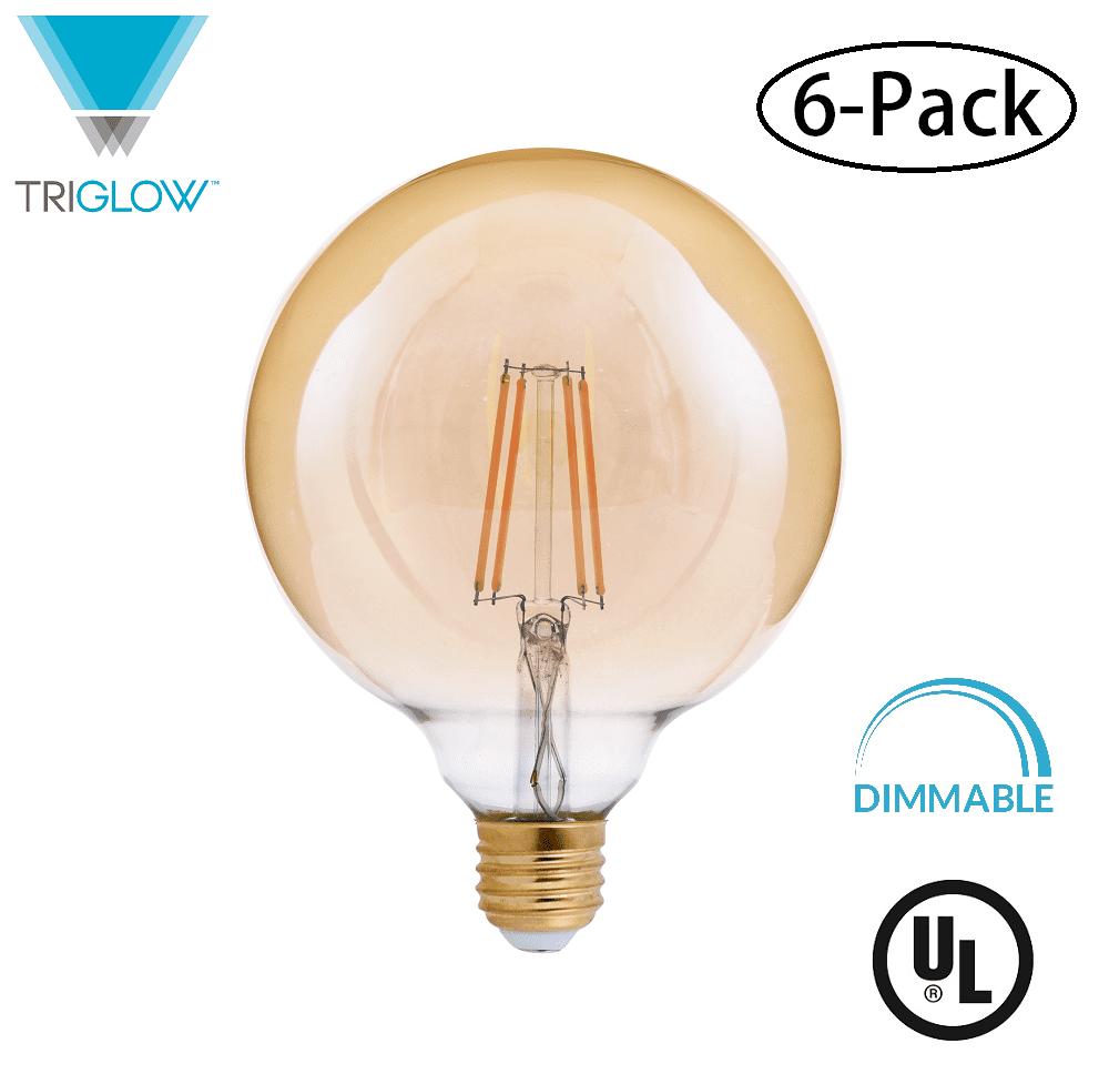 TriGlow (6-Pack) LED 4-Watt (40W Equivalent) Amber Glass G40 Globe Bulb, DIMMABLE 2200K Color, 400 Lumens, E26 Medium Base LED Light Bulbs