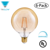 TriGlow (6-Pack) LED 4-Watt (40W Equivalent) Amber Glass G40 Globe Bulb, DIMMABLE 2200K Color, 400 Lumens, E26 Medium Base LED Light Bulbs