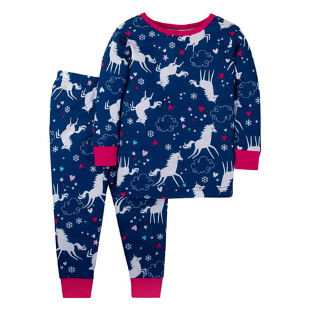 Trim Organic Cotton - Little Star Organic Cotton Long Sleeve Tight Fit Pajamas, 2pc Set (Baby Girls & Toddler Girls)