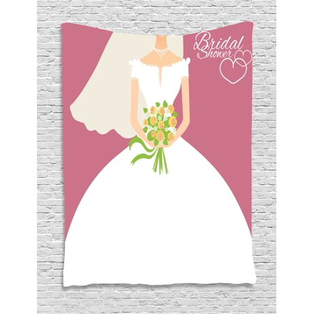 Bridal Shower Decorations Tapestry, Wedding Day Bride with White Dress and Flowers Image, Wall Hanging for Bedroom Living Room Dorm Decor, 40W X 60L Inches, Dark Coral and White, by Ambesonne - Flowers For Dresses