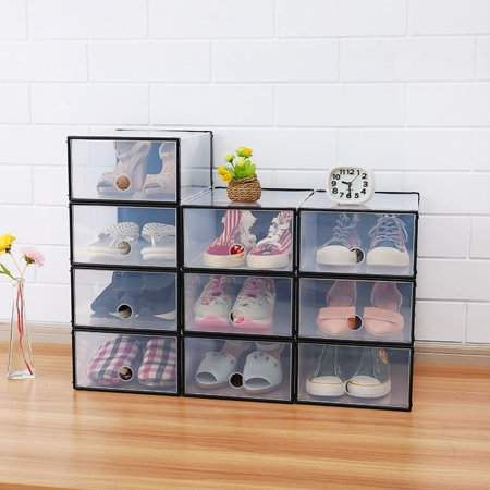 Rectangular Drawer - Zerone 5PCS Rectangular Clear Plastic Shoe Box Transparent Drawer Case Protective Storage Shoe Boxes Storage Organizer Stackable Box