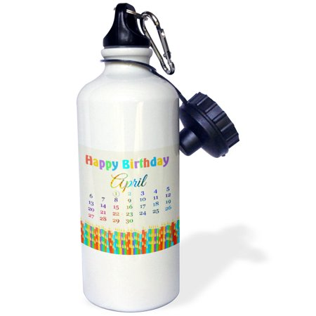 3dRose Birthday on April 1st, Colorful Birthday Candles with Flames, Sports Water Bottle, 21oz