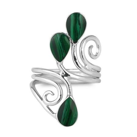 Green Floral Vine - Floral Vine Ornate Teardrop Green Malachite Sterling Silver Ring-7