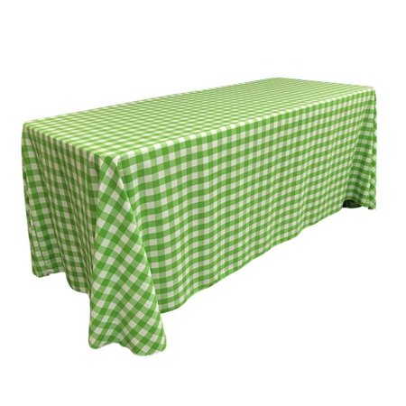 LA Linen TCcheck90x156-LimeK84 Polyester Gingham Checkered Rectangular Tablecloth, White & Lime - 90 x 156 in. - image 1 of 1