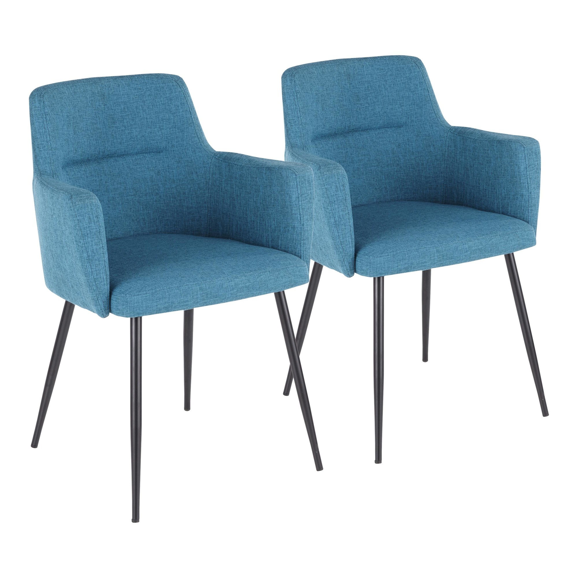 Andrew Contemporary Dining Accent Chair In Black With Teal