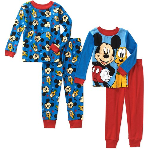 Mickey Mouse Toddler Boy Mickey and Pluto Cotton Tight Fit Pajamas 4pc Set