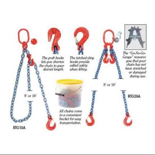 B/A PRODUCTS CO. G8-9632161 Chain Sling, G80, SGG, Alloy Steel, 16 ft. L