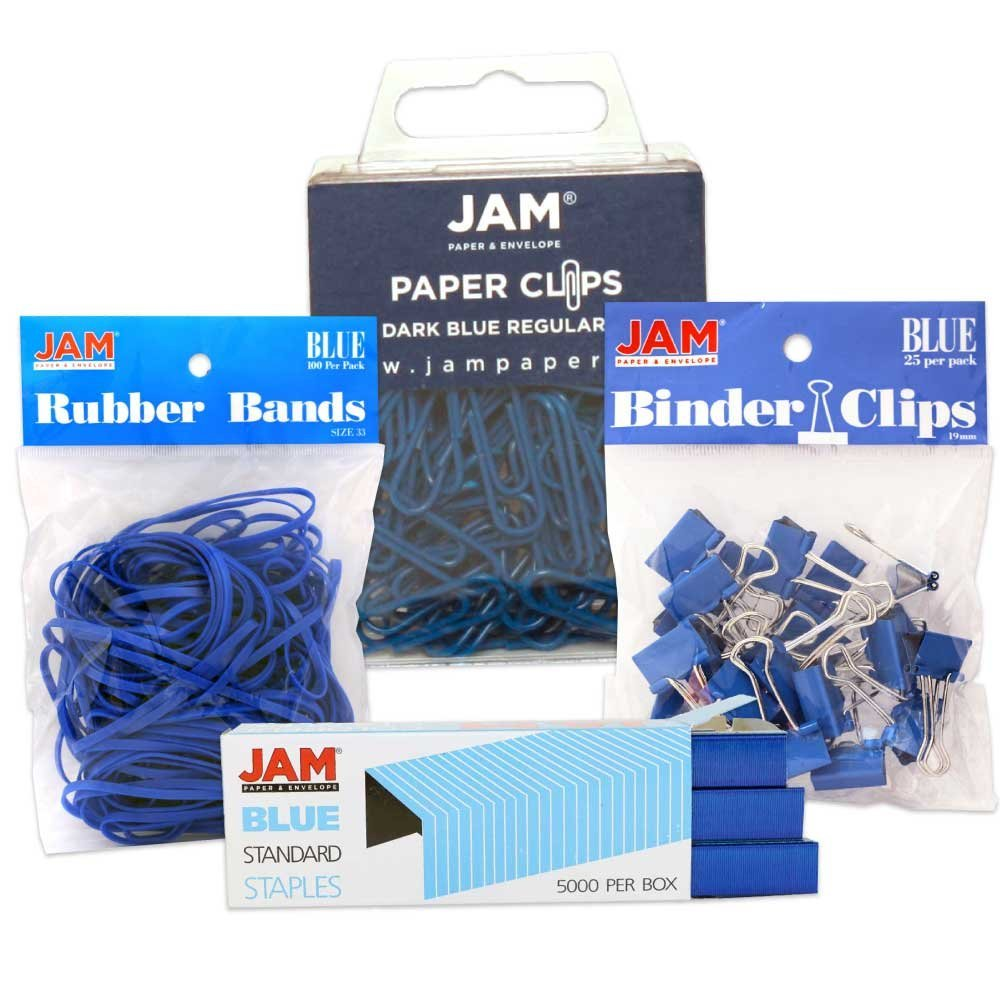 JAM Paper Desk Supply Asssortment Set, Blue, (1) Rubber Bands (1) Colored Staples (1) Binder Clips (1) Paper Clips, 4/set