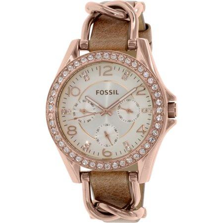 Fossil Womens Riley Es3466 Rose Gold Leather Japanese Quartz Fashion Watch