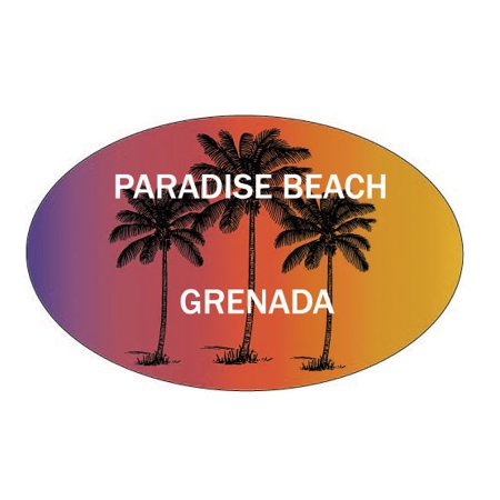 Paradise Beach Grenada Souvenir Palm Trees Surfing Trendy Oval Decal Sticker ()