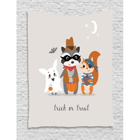 Ghost Tapestry, Trick or Treat Quote with Happy Forest Animals on Halloween Costumes Moon and Stars, Wall Hanging for Bedroom Living Room Dorm Decor, 40W X 60L Inches, Multicolor, by Ambesonne](Happy Halloween Movie Quotes)