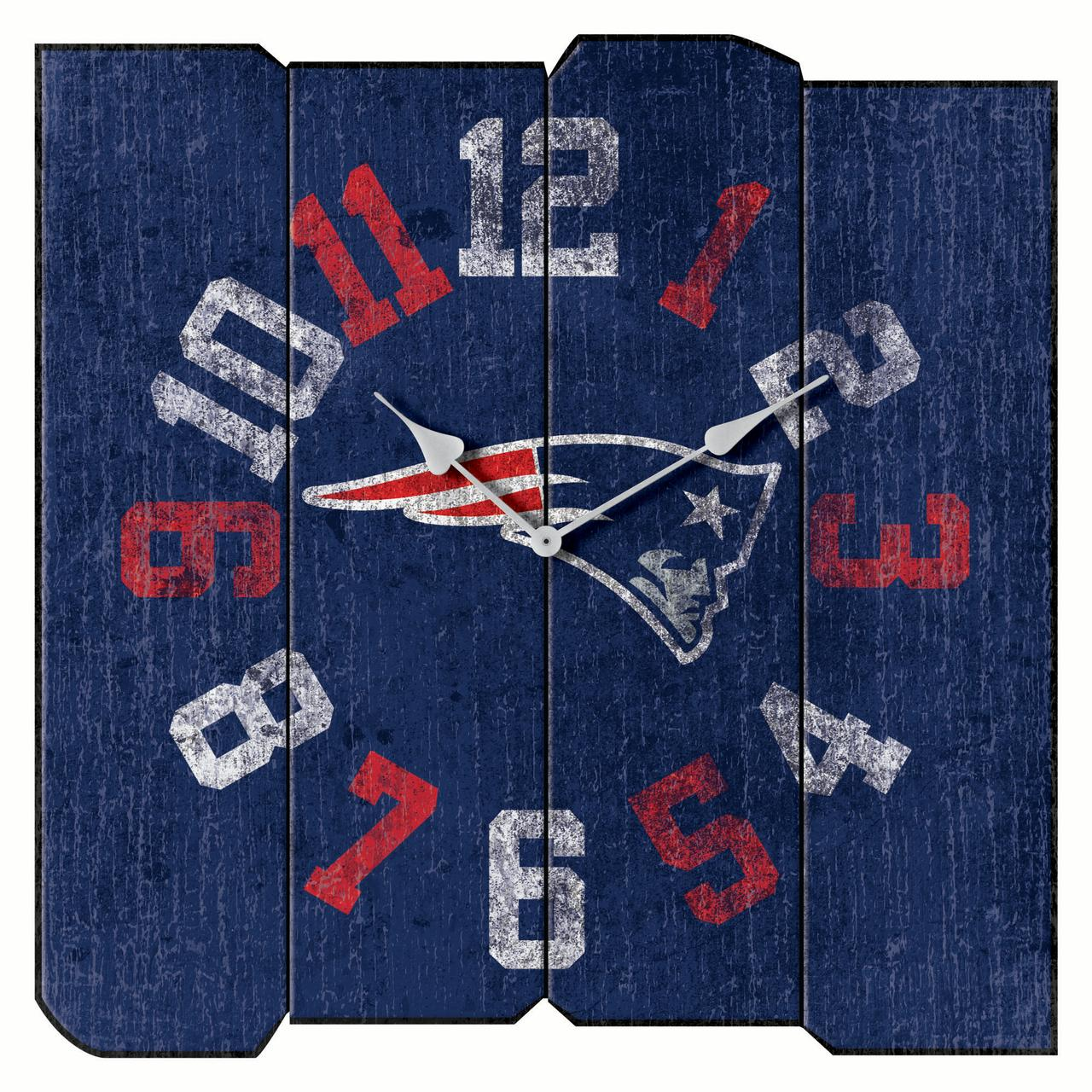 "New England Patriots 16"" Vintage Sqaure Wall Clock - Blue - No Size"