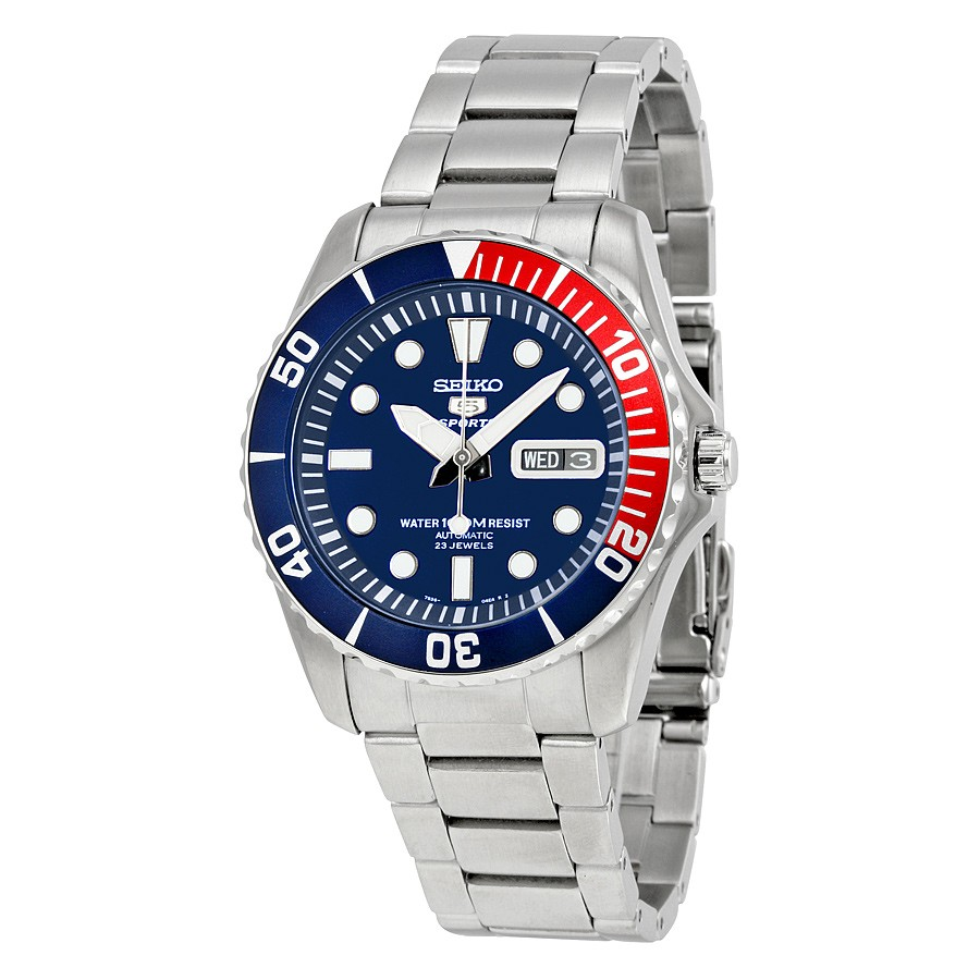 Seiko Men's Sports 5 Automatic Stainless Steel Blue Dial Dress Watch SNZF15K