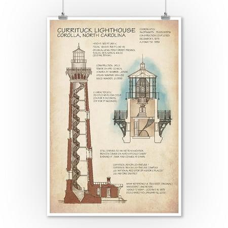 Outer Banks, North Carolina - Currituck Beach Lighthouse Technical - Lantern Press Artwork (9x12 Art Print, Wall Decor Travel Poster)