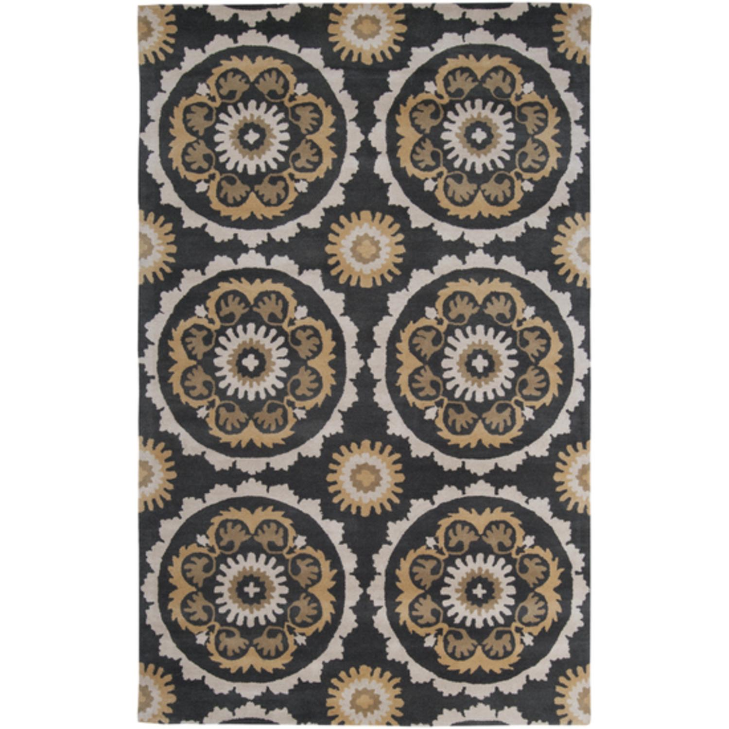 5' x 8' Glowing Paradise Black Olive and Safari Tan Wool Area Throw Rug